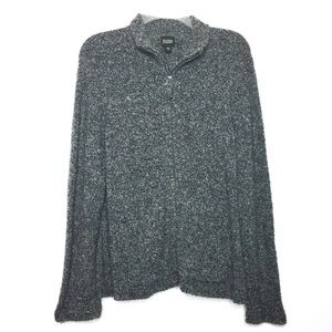 Eileen Fisher Gray Wool & Cashmere Zip Up Sweater